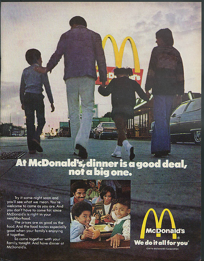 At McDonald's dinner's a good deal not a big one ad 1978 Negro models