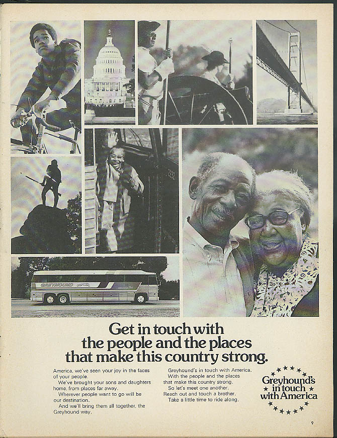 Get in touch with people & places that make country strong Greyhound Bus ad 1975