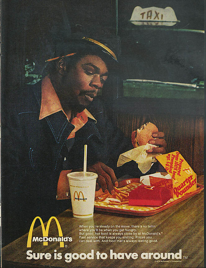 Image for Sure is good to have around McDonald's Quarter Pounder ad 1975 black cabdriver