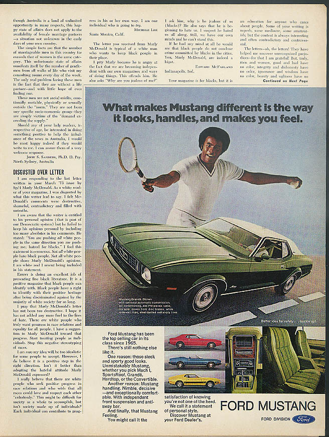 Image for What makes Ford Mustang different ad 1973 black man plays tennis