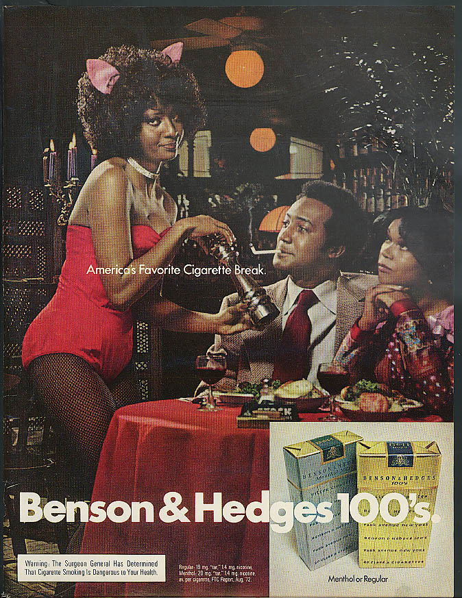 Image for America's favorite cigarette Benson & Hedges ad 1973 black Playboy-type Bunny