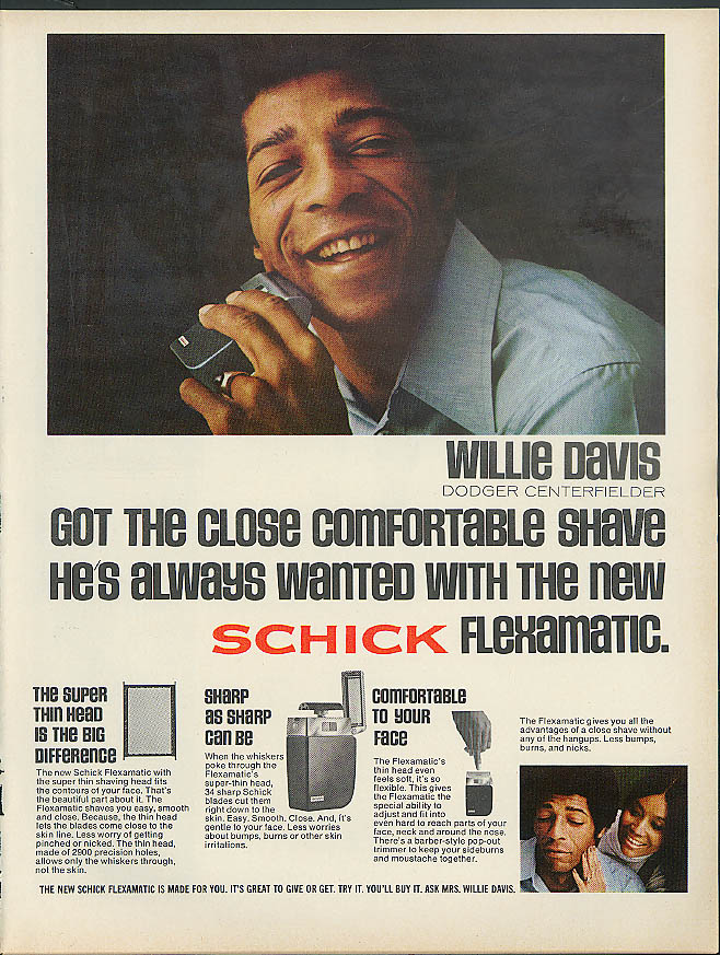Dodger Willie Davis for the Schick Flexamatic Electric Razor ad 1973