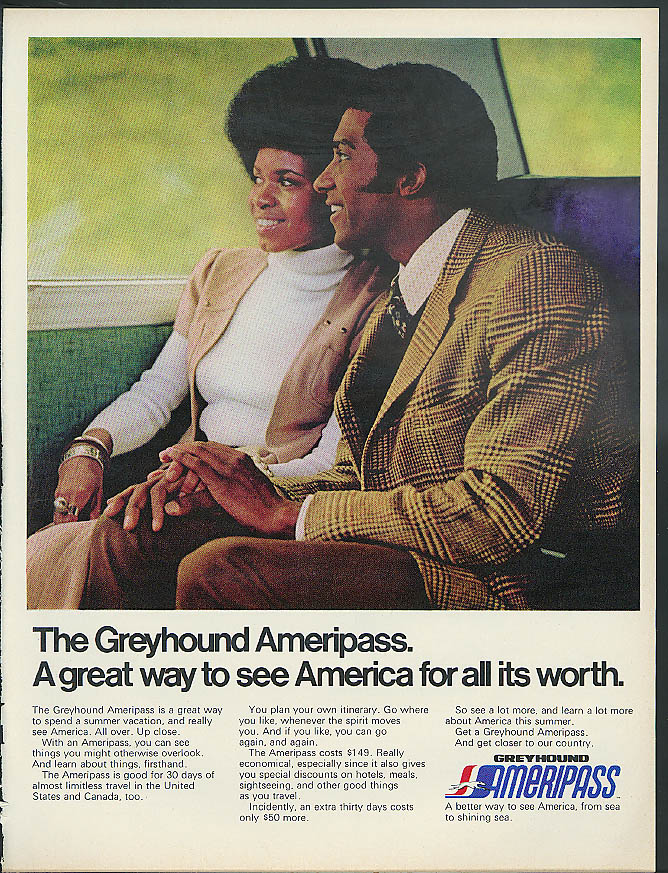 Greyhound Bus Ameripass Great way to see America ad 1973 black couple
