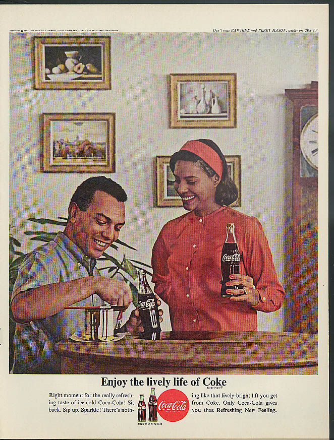 Enjoy the lively life of Coca-Cola ad 1962 black couple refinish table