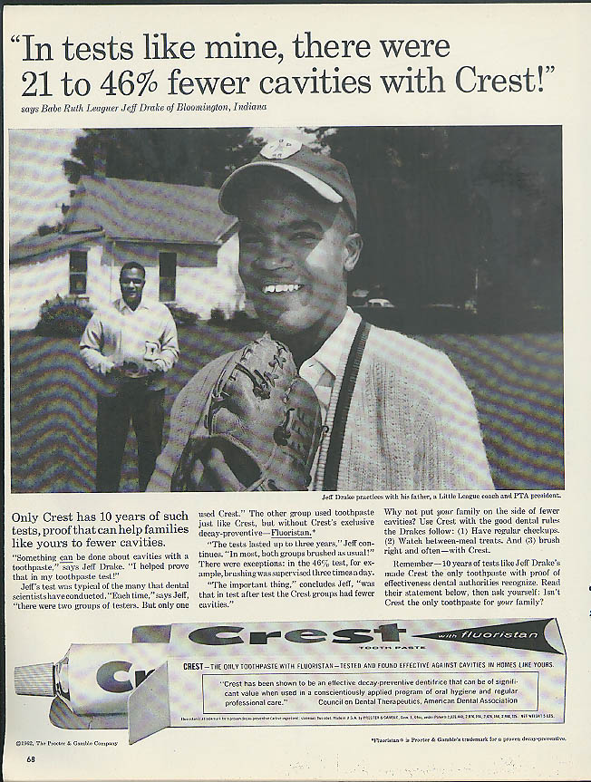 Image for Black Babe Ruth Leaguer Jeff Drake Bloomington IN for Crest Toothpaste ad 1962