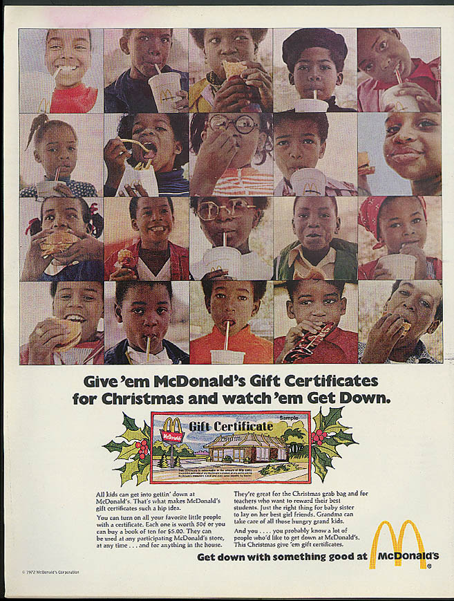 Image for Give 'em McDonald's Gift Certificates & Watch 'em Get Down ad 1972 black models