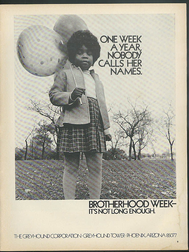 Brotherhood Week It's Not Long Enough Greyhound Bus ad 1972 black