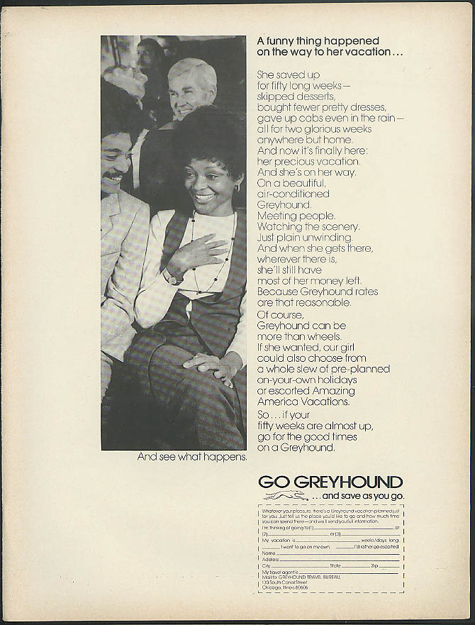 A funny thing happened on her vacation Greyhound Bus ad 1971 Negro models