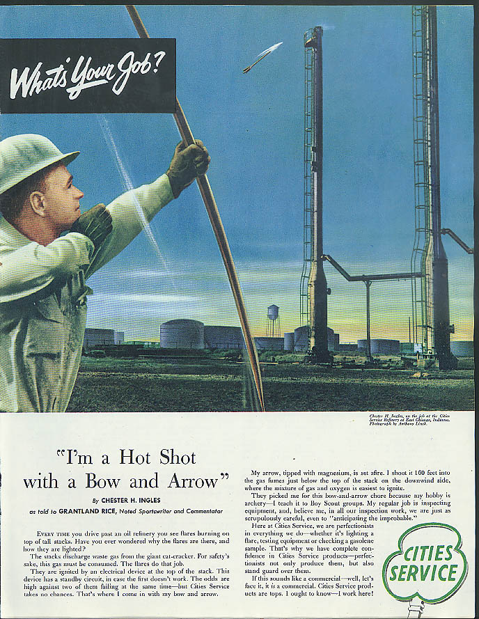 Image for I'm a hot shot with bow & arrow Cities Service ad 1953 Grantland Rice