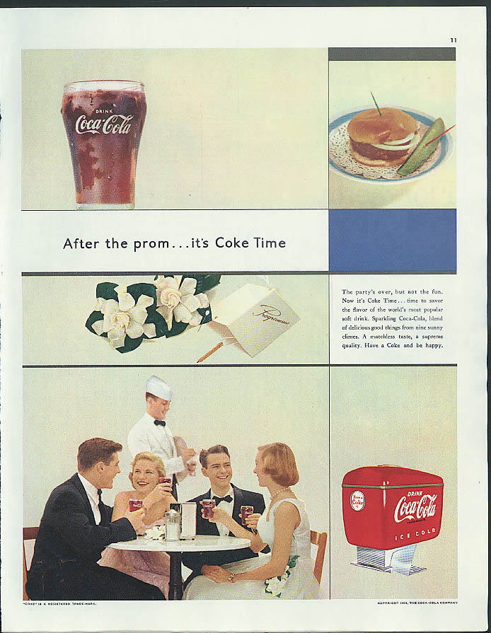 After the prom it's Coke time full-color Coca-Cola ad 1954