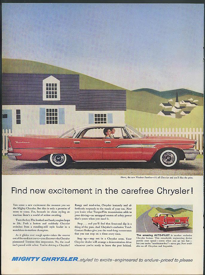 Image for Find new excitement in the carefree Chrysler Windsor Dartline ad 1958