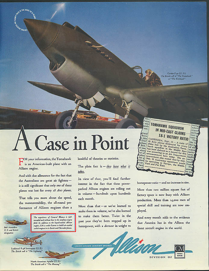 A Case in Point - Curtiss P-40 Tomahawk Allison Engine ad 1942