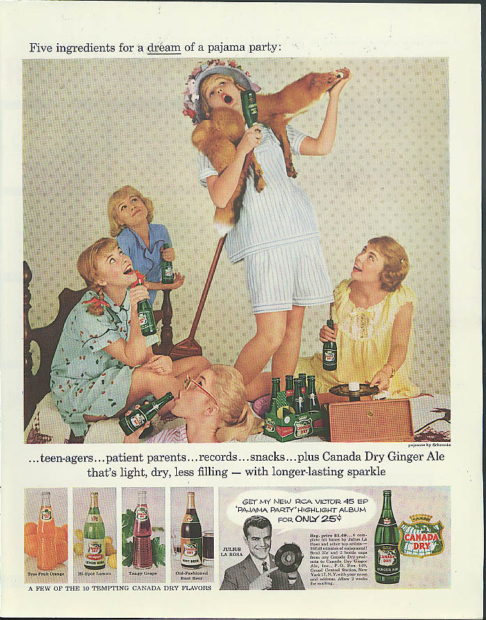 5 ingredients for a teenage pajama party Canada Dry Ginger Ale ad 1957
