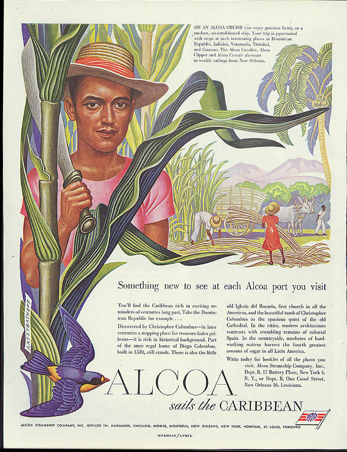 Alcoa Steamship ad 1949 Dominican Republic man with machete by Artzybasheff