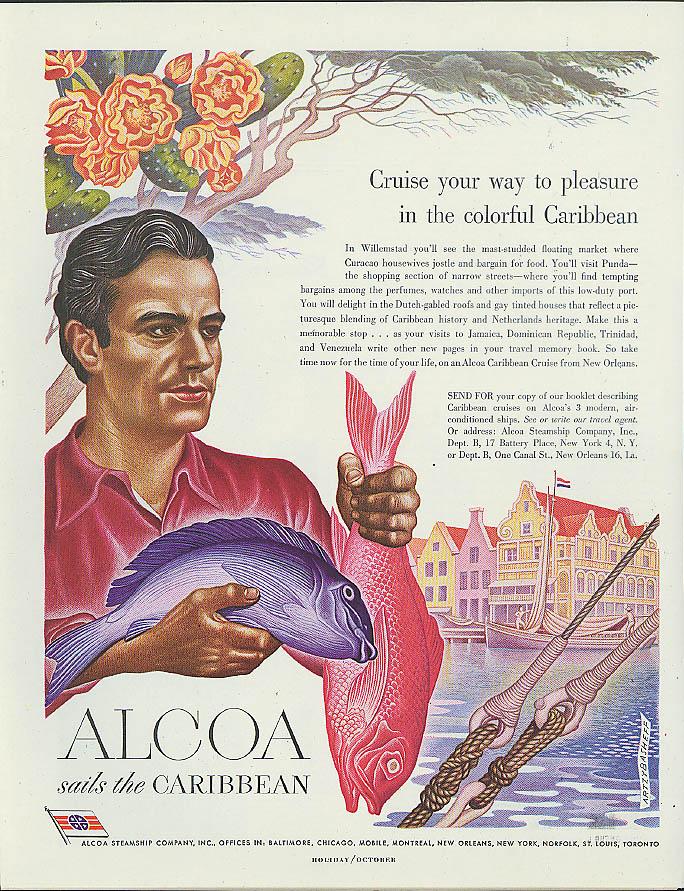 Alcoa Steamship ad 1949 Curacao fisherman by Artzybasheff