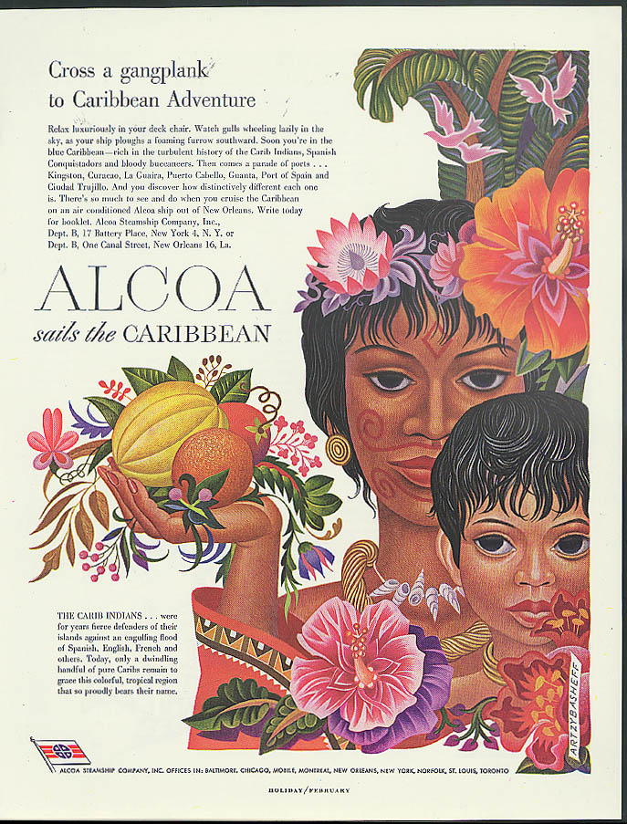Alcoa Steamship ad 1949 Carib Caribbean Indians with fruits by Artzybasheff