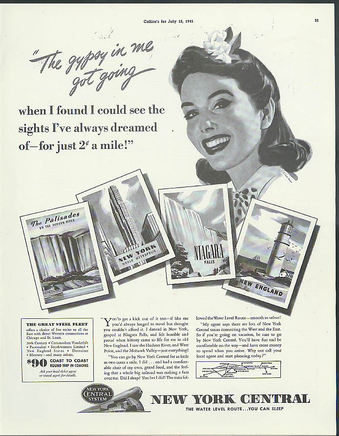 Image for The gypsy in me got me going New York Central Railroad ad 1941