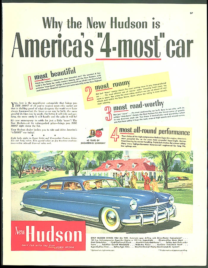 Why the New Hudson is America's 4-most car ad 1949