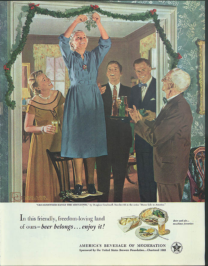 Beer Belongs - Enjoy It! Ad 1951 Douglass Crockwell Grandma hangs mistletoe