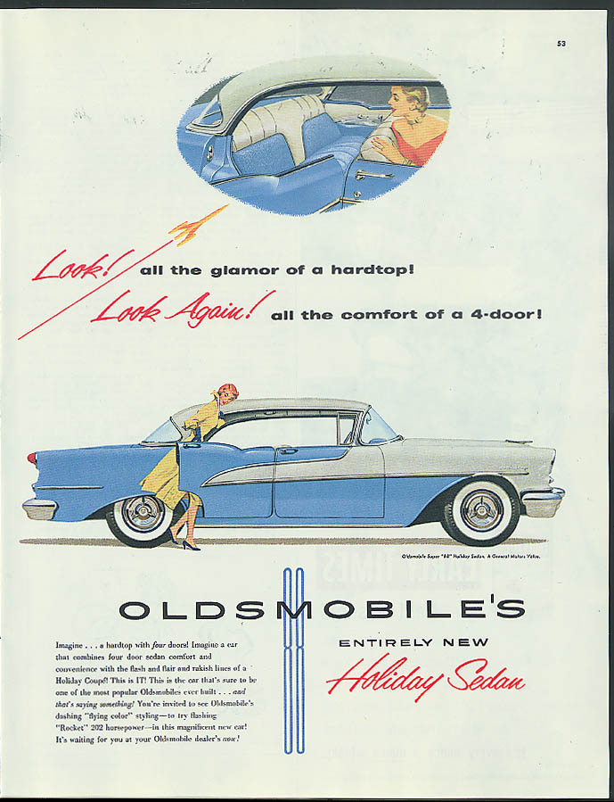 Look! Look Again! Oldsmobile Holiday Sedan four-door hardtop ad 1955