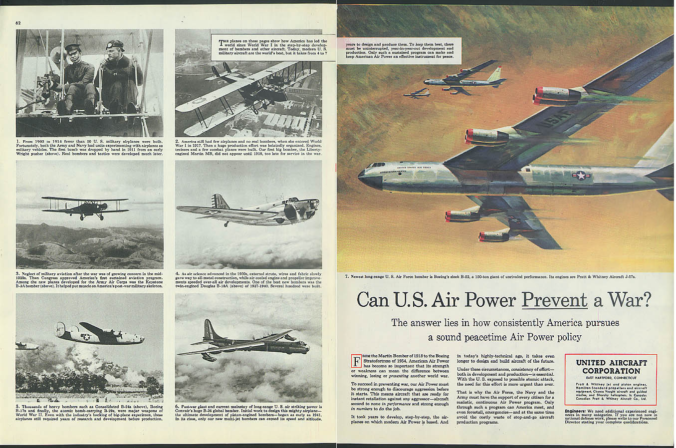 Can Air Power Prevent War? United Aircraft ad 1954 B-52 B-36 B-18A B-24 B-3A