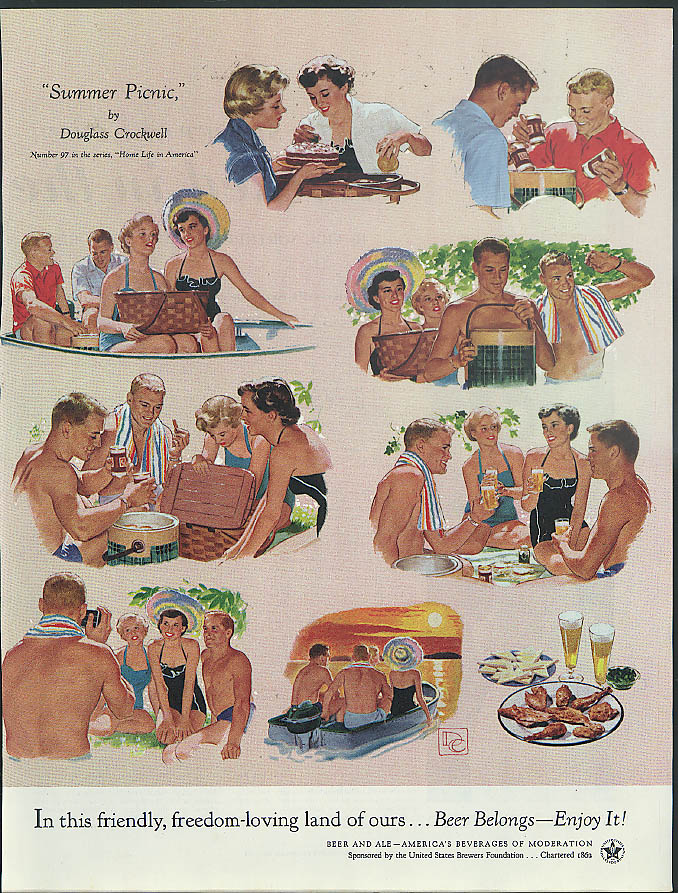 Beer Belongs - Enjoy It! Ad 1954 Douglass Crockwell Summer Picnic