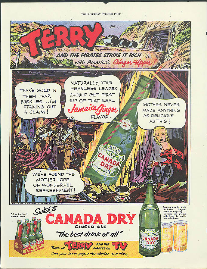 Terry & The Pirates Strike it Rich Canada Dry Ginger Ale ad 1953