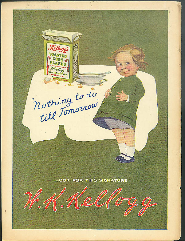 Nothing to do till tomorrow Kellogg's Toasted Corn Flakes ad 1912