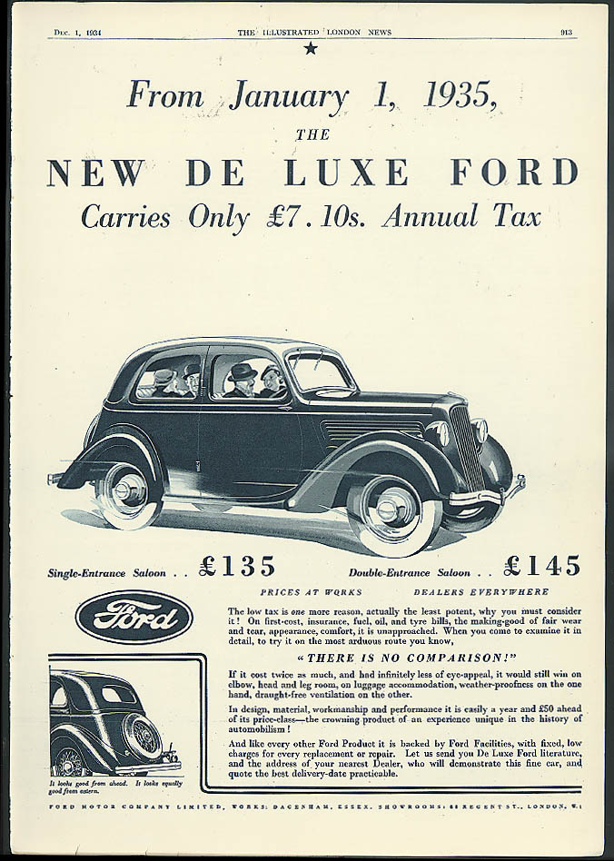 From January 1, 1935 the New De Luxe Ford only £7.10 tax ad 1935 England