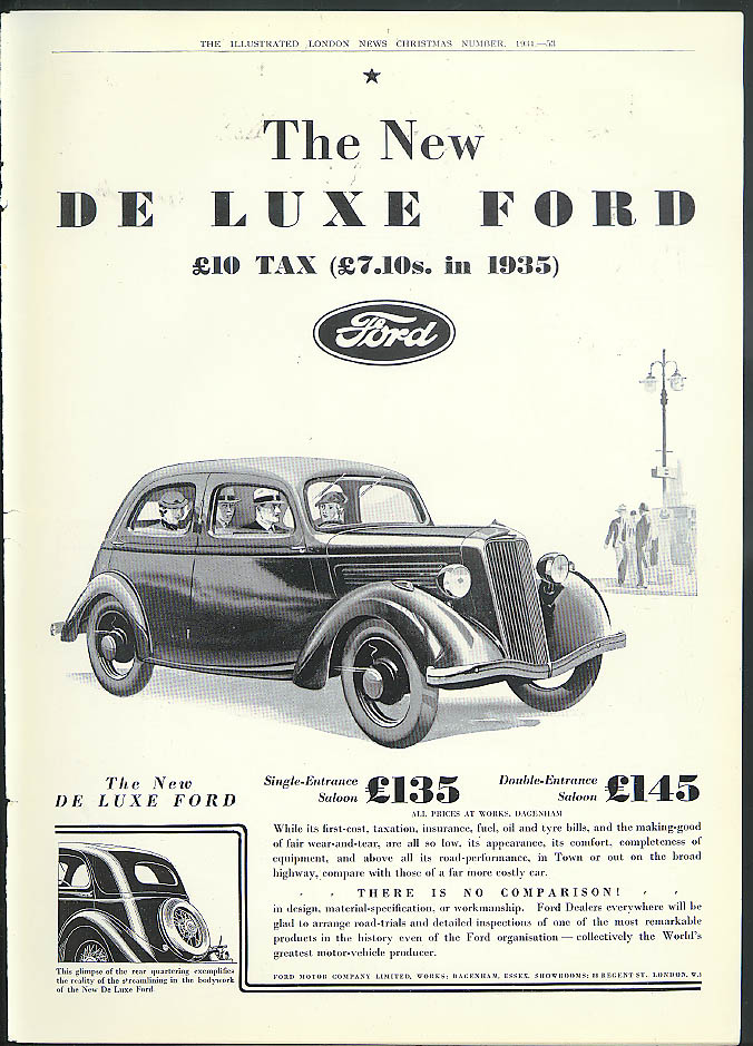 The New De Luxe Ford  £10 tax [£7.10 in 1935] ad 1935 England