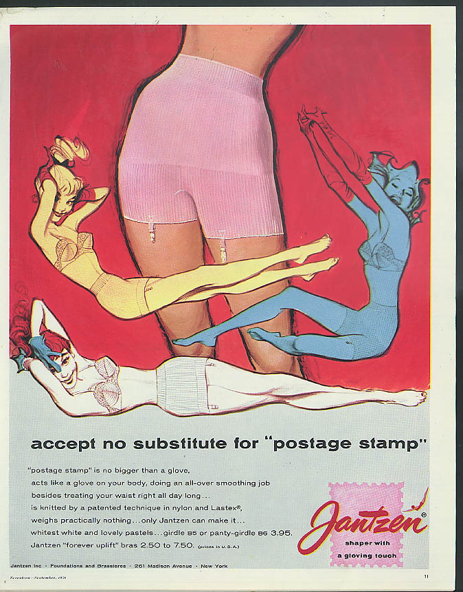 Jantzen Postage Stamp Girdle accept no subsitutes ad 1956 Hawley art