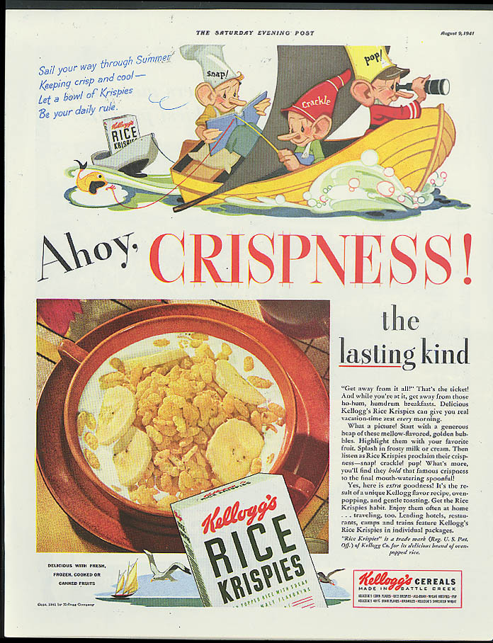 Ahoy, Crispness! Kellogg's Rice Krispies ad 1941 Vernon Grant Snap Crackle Pop