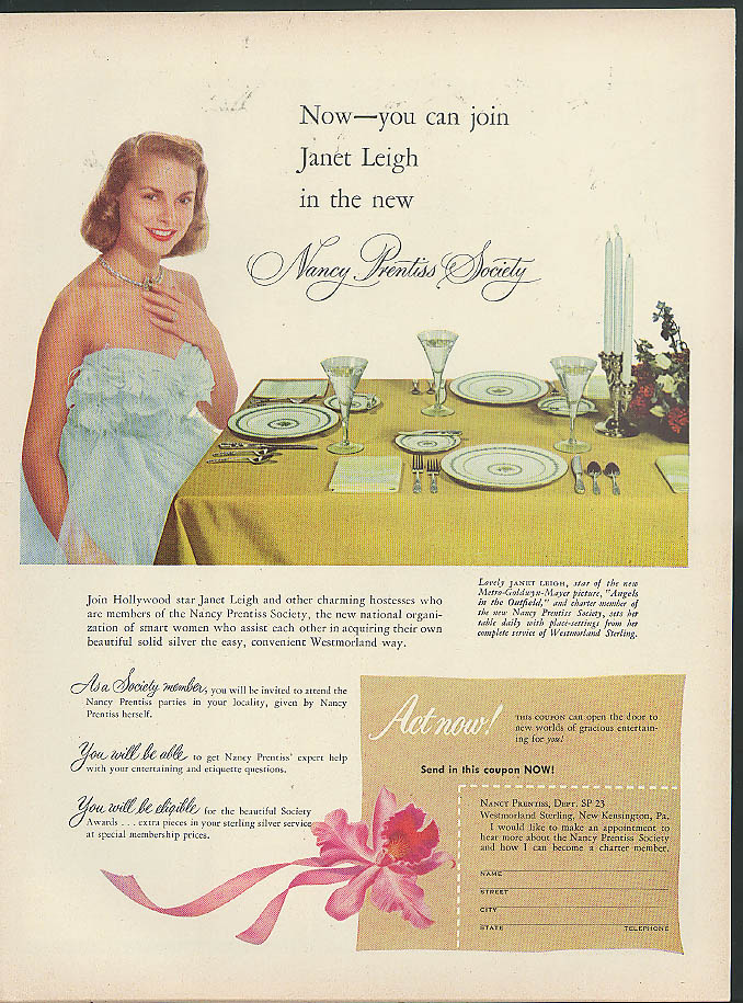 Now join Janet Leigh in the Nancy Prestiss Silverware Society ad 1951