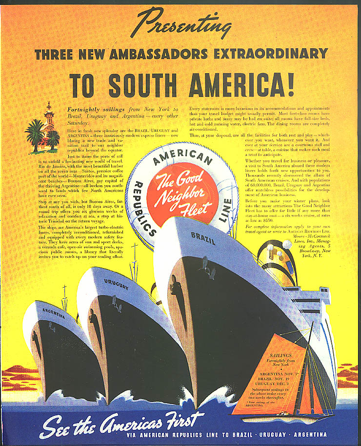 American Republics Line S S Argentina Uruguay Brazil to South America! Ad 1938