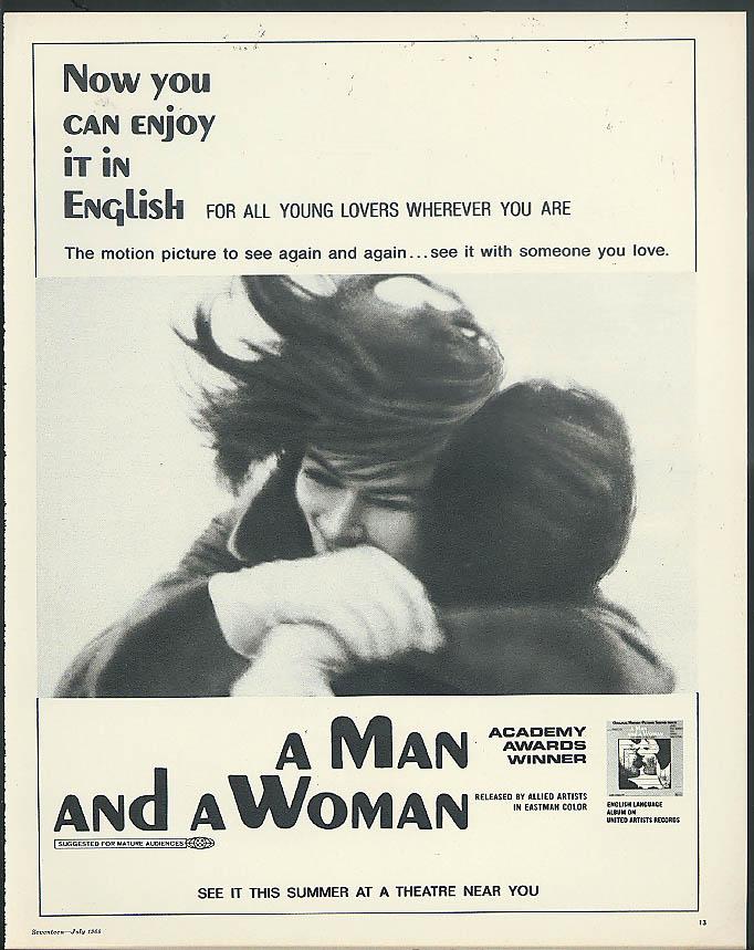Anouk Aimee Jean-Louis Trintingnant in A Man & A Woman ad 1968