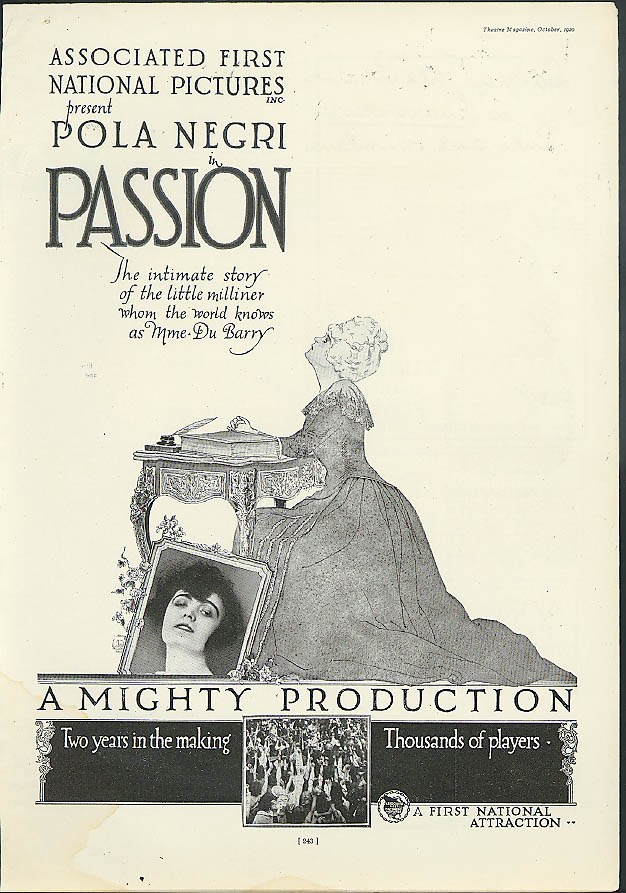 ola Negri in Associated First National Pictures' Passion movie ad 1920