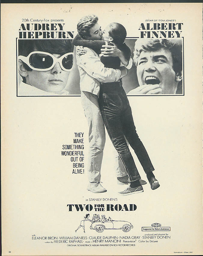 Audrey Hepburn & Albert Finney in Two for the Road movie ad 1967