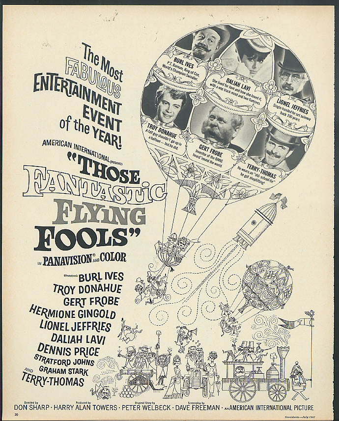 Troy Donahue Burl Ives in Those Fantastic Flying Fools movie ad 1967