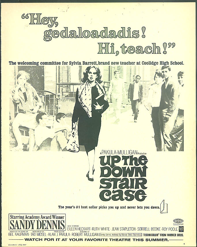 Sandy Dennis in Up the Down Staircase movie ad 1967