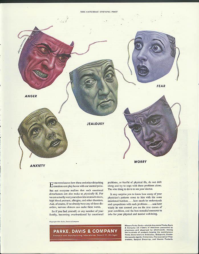 Masks of Emotion by Artzybasheff Parke Davis Medicines ad 1954