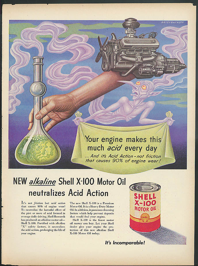 Your engine makes acid every day Shell Oil ad 1951 Artzybasheff purple demon