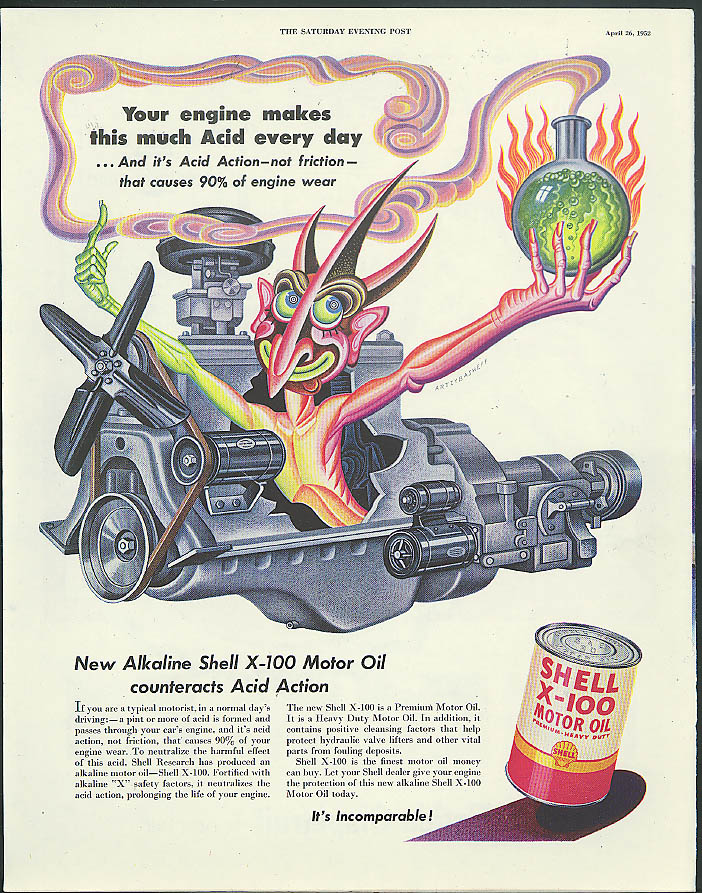 Your engine makes acid every day Shell Oil ad 1952 Artzybasheff evil in engine