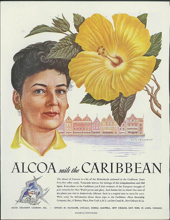 Alcoa Steamship ad 1948 Curacao woman & yellow blossom by Artzybasheff