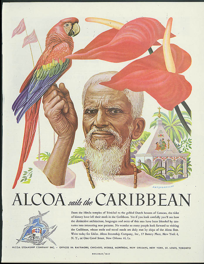 Alcoa Steamship ad 1948 Caribbean man with parrot & orchid by Artzybasheff