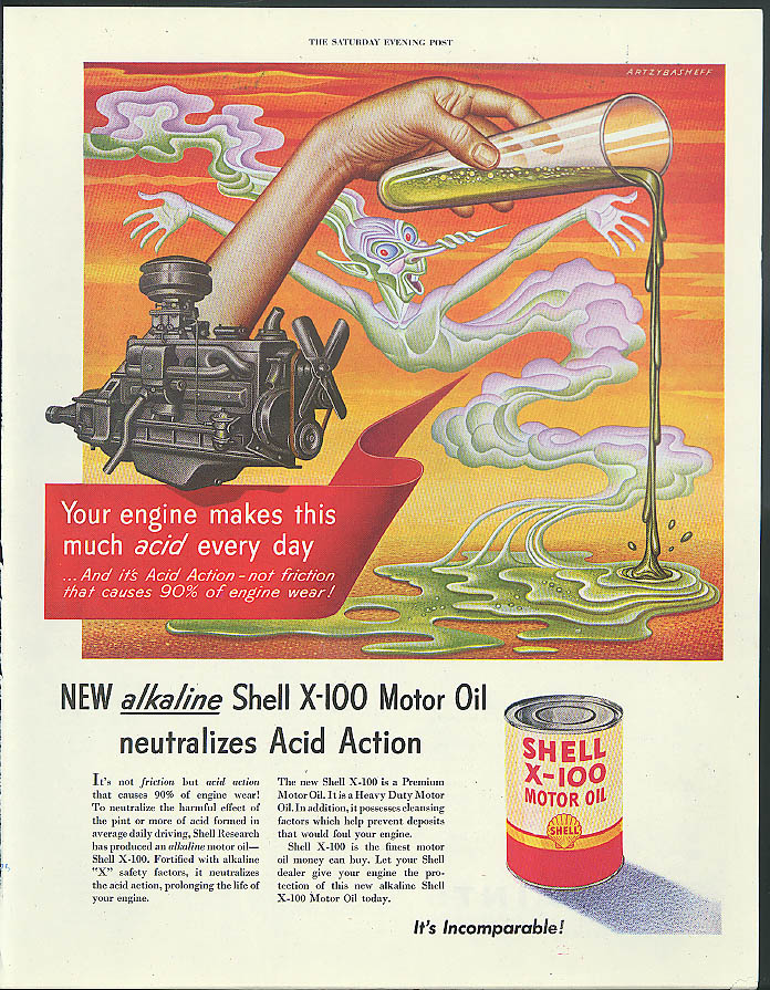 Your engine makes acid every day Shell Oil ad 1951 Artzybasheff test tube pours