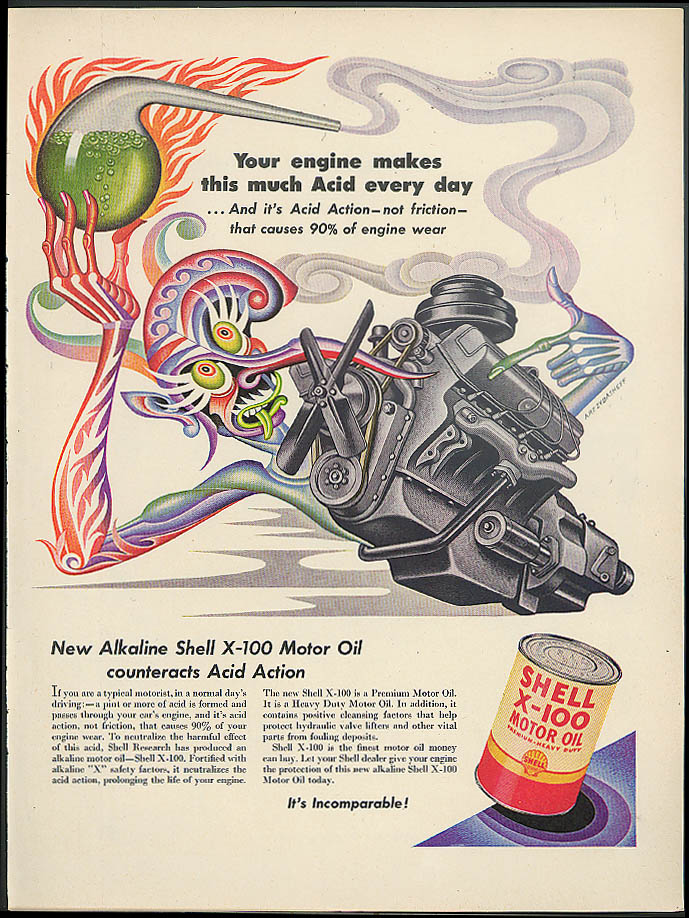 Your engine makes acid every day Shell Oil ad 1952 Artzybasheff V-8 beaker