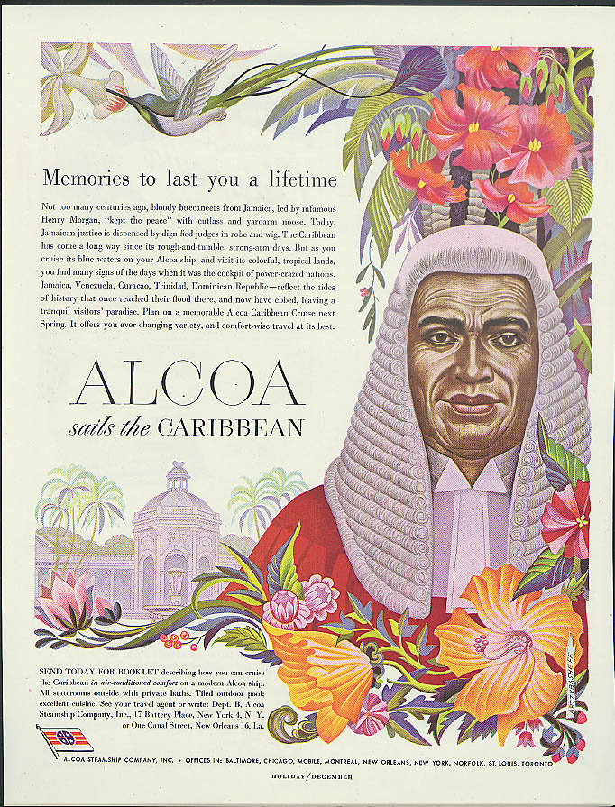 Alcoa Steamship ad 1949 Jamaican Judge in wig & hummingbird by Artzybasheff