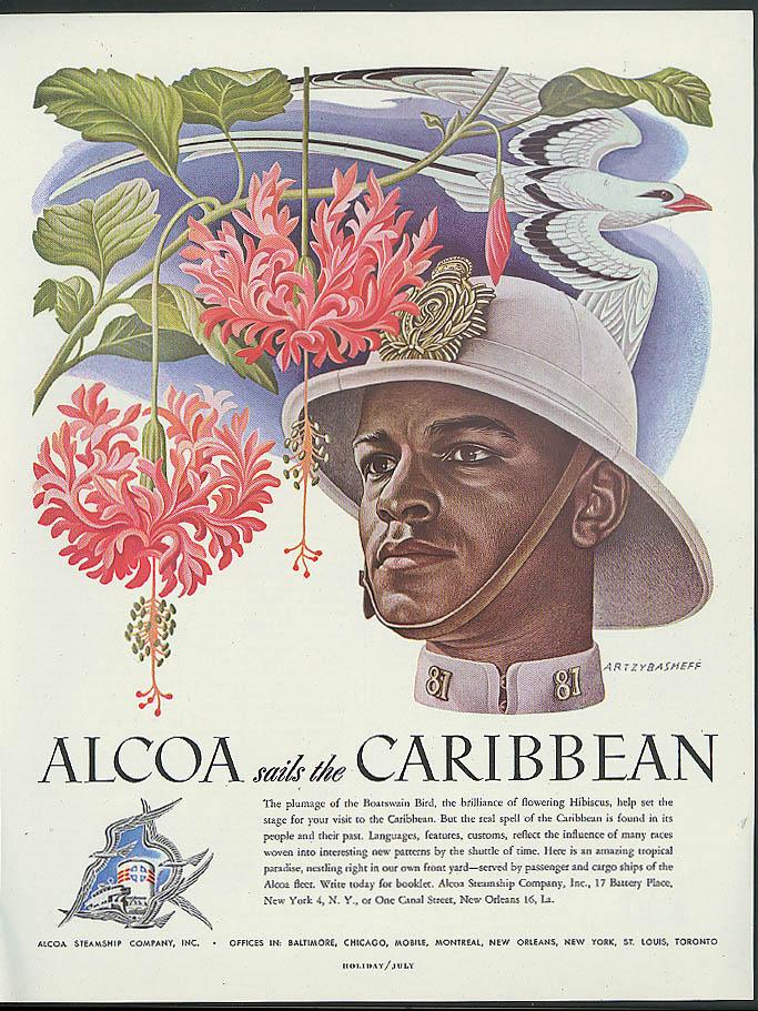 Alcoa Steamship ad 1948 Botswain Bird & Caribbean Policeman by Artzybasheff