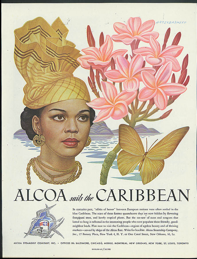 Alcoa Steamship ad 1948 Caribbean beauty & frangipani tree by Artzybasheff