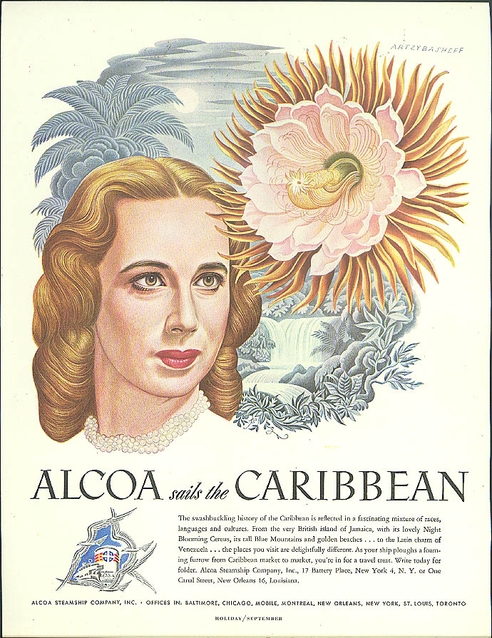 Alcoa Steamship ad 1948 Caribbean beauty & blooming cereus by Artzybasheff
